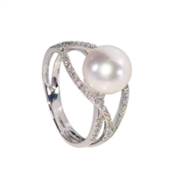 9ct White Gold Cultured Akoya Pearl and Diamond Twist Ring