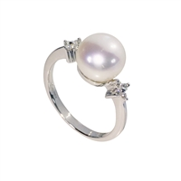 9ct White Gold Diamond and Freshwater Pearl Dress Ring