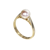 9ct Yellow Gold Solitaire Akoya Pearl Dress Ring