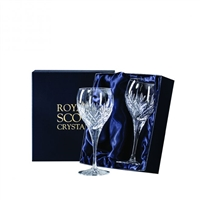 Pair Edinburgh Lead Crystal Red Wine Glasses by Royal Scot Crystal