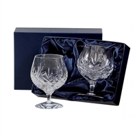 Pair Edinburgh Lead Crystal Brandy Balloon Glasses by Royal Scot Crystal