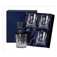 Boxed Four Crystal Scottish Thistle Small Whisky Glasses by Royal Scot Crystal