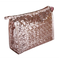 Rose Gold Heavily Sequinned Sparkly Makeup Bag