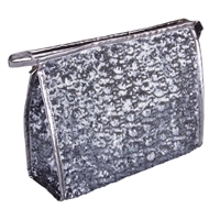 Silver Heavily Sequinned Sparkly Makeup Bag with Zip