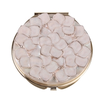 Gold Plated Compact Mirror with Pink Enamel Flowers