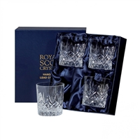 Four Edinburgh Design Lead Crystal Large Whisky / Spirit Tumbler Glasses by Royal Scot Crystal