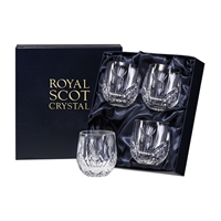 Boxed Four Crystal Scottish Thistle Small Barrel Whisky Glasses by Royal Scot Crystal