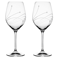 Pair Diamante Lead Crystal Wine Goblets with Swarovski Crystal Detail by Royal Scot Crystal