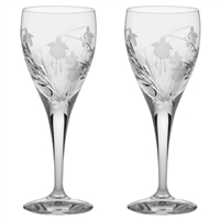 Pair Crystal Catherine Design Port or Sherry Glasses by Royal Scot Crystal