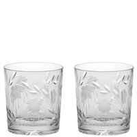 Pair Crystal Catherine Design Large Whisky Spirit Tumbler Glasses by Royal Scot Crystal