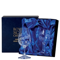 Boxed Pair Whisky Tasting Glasses, Flower of Scotland Design by Royal Scot Crystal