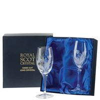 Boxed Pair White Wine Glasses, Flower of Scotland Design by Royal Scot Crystal