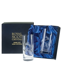 Boxed Pair High Ball Tall Tumbler Glasses, Flower of Scotland Design by Royal Scot Crystal