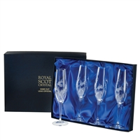 Boxed Set of Four Champagne Flute Glasses, Flower of Scotland Design by Royal Scot Crystal