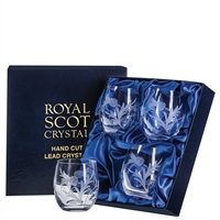 Boxed Four Barrel Shaped Whisky Tumbler Glasses, Flower of Scotland Design by Royal Scot Crystal