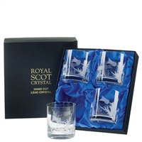 Boxed Four Large Whisky Tumbler Glasses, Flower of Scotland Design by Royal Scot Crystal