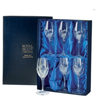 Boxed Set of Six White Wine Glasses, Flower of Scotland Design by Royal Scot Crystal