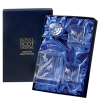 Crystal Square Spirit Decanter and Glasses Set. Flower of Scotland Design by Royal Scot Crystal
