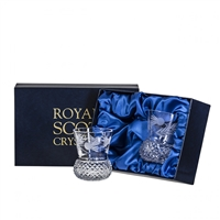 Boxed Pair Thistle Whisky Tumbler Glasses, Flower of Scotland Design by Royal Scot Crystal