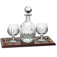 Crystal Brandy Decanter and Glass Set with Mahogany Tray. London Design by Royal Scot Crystal