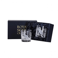 Pair Wildlife Collection Hand Cut Whisky Tumblers with Hare design by Royal Scot Crystal