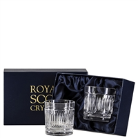 Pair Crystal Art Deco Design Whisky Tumbler Glasses by Royal Scot Crystal