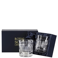 Pair Crystal Art Deco Design Large Tumbler Glasses by Royal Scot Crystal