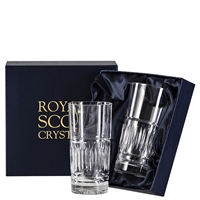 Pair Crystal Art Deco Design Tall High Ball Tumbler Glasses by Royal Scot Crystal