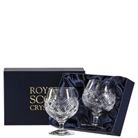 Pair Crystal Tartan Design Brandy Balloon Glasses by Royal Scot Crystal