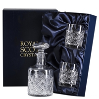 Crystal Tartan Design Round Spirit Decanter and Glasses Set by Royal Scot Crystal