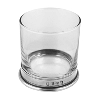 Simple 11oz Whisky Tumbler with English Pewter Base Collar