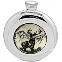 English Pewter Scrimshaw Hip Flask, 6oz Round with Stag Image