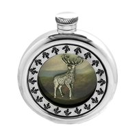 English Pewter Round 6oz Picture Hip Flask Featuring Highland Stag