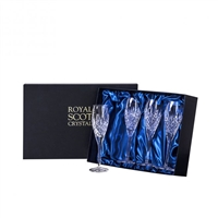 Boxed Four London Design Champagne Flute Glasses by Royal Scot Crystal