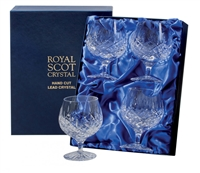 Boxed Four London Design Brandy or Cognac Balloon Glasses by Royal Scot Crystal