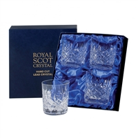 Boxed Four London Design Whisky Tumbler Glasses by Royal Scot Crystal