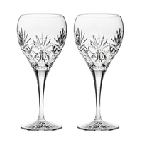 Pair Kintyre Pattern Small White Wine Glasses. Gift Boxed by Royal Scot Crystal