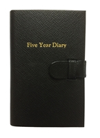 Leather Bound Five Year Diary. Black with Blue Paper by Leathersmith. Gift Boxed.