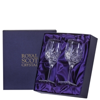 Pair Highland Pattern White Wine Glasses. Presentation Boxed by Royal Scot Crystal