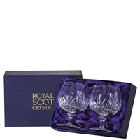 Pair Highland Pattern Brandy Balloon Glasses. Presentation Boxed by Royal Scot Crystal