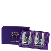 Pair Highland Pattern Spirit or Whisky Tumbler Glasses. Presentation Boxed by Royal Scot Crystal