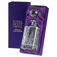 Traditional Crystal Square Spirit or Whisky Decanter. Highland Pattern Presentation Boxed by Royal Scot Crystal