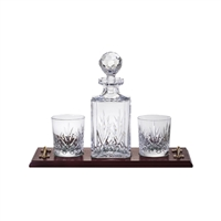 Solid Oak Whisky Tray Set with Crystal Square Decanter and a Pair of Glasses. Highland Pattern by Royal Scot Crystal