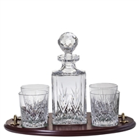 Solid Oak Whisky Club Tray Set with Crystal Square Decanter and Four Glasses. Highland Pattern by Royal Scot Crystal