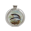 English Pewter 6oz Round Picture Hip Flask with Unique Roach Image