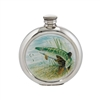English Pewter 6oz Round Picture Hip Flask with Unique Pike Image. Engraving Available