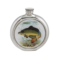 English Pewter 6oz Round Picture Hip Flask with Unique Carp Image. Engraving Available
