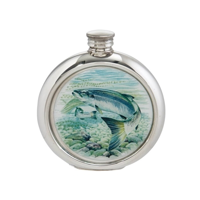 English Pewter 6oz Round Picture Hip Flask with Unique Salmon Image with Engraving Available