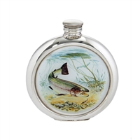 English Pewter 6oz Round Picture Hip Flask with Unique Trout Image with Engraving Available