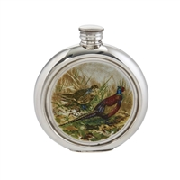 English Pewter 6oz Round Picture Hip Flask with Unique Pheasant Image with Engraving Available